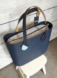 O`Bag binnentas  coffee bean micro-texture blauw