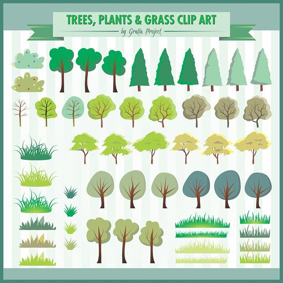 Trees, Plants and Grass Clip Arts