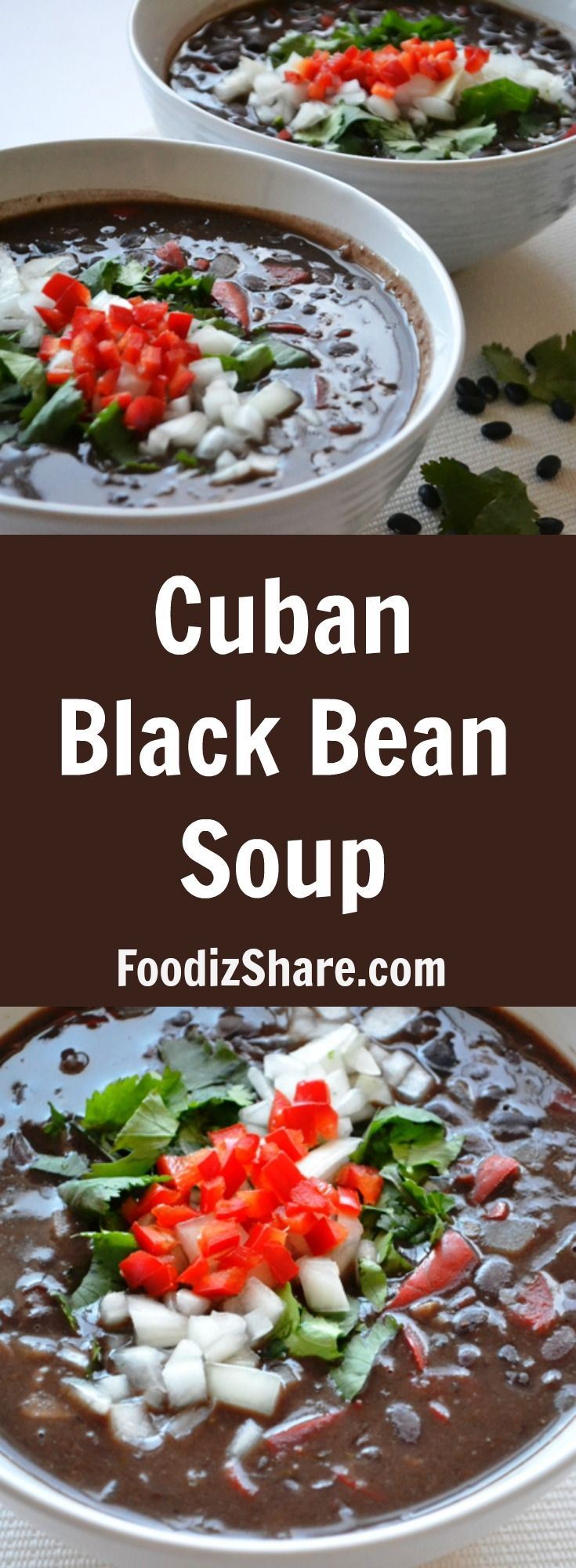 This hearty and delicious soup is a vegetarian version of the famous #Cuban black bean #soup. #vegetarian #comfortfood #healthy #food #recipes #easyrecipes #healthyfood