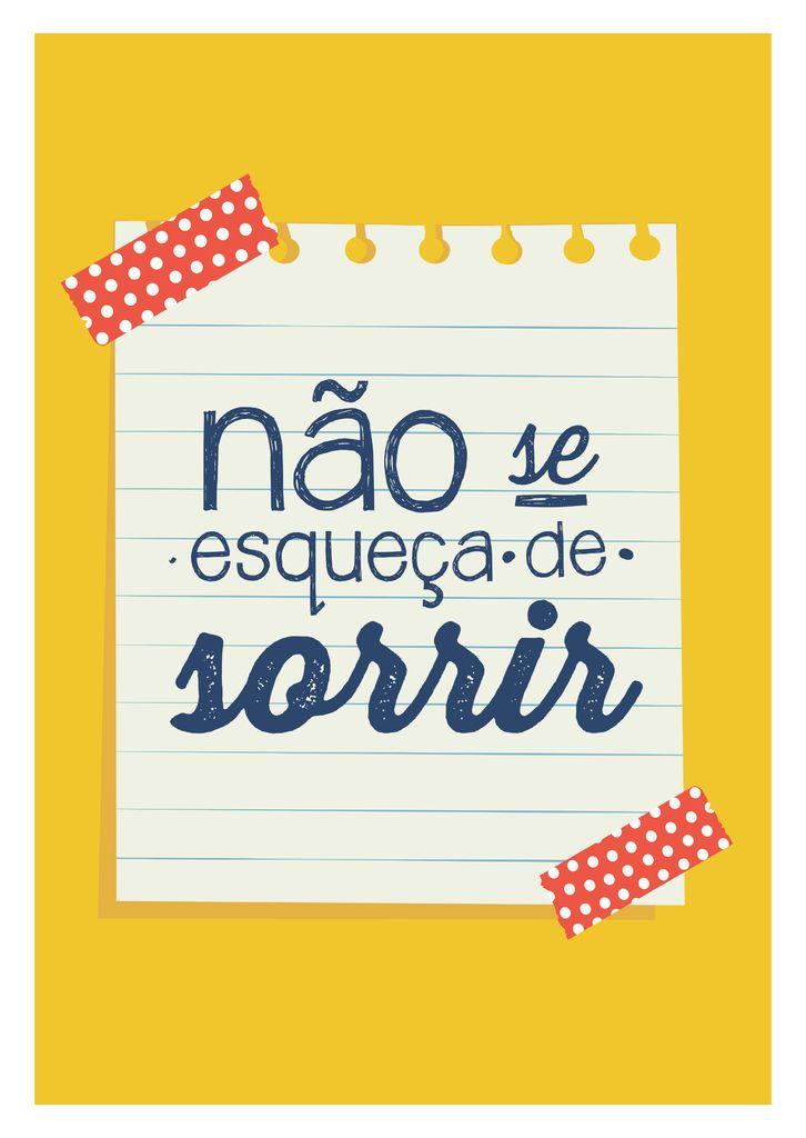 Poster Frase Nao se esqueça de sorrir - Decor10