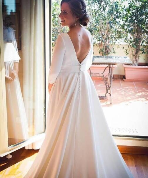 42ff77bcb88e Vestidos De Noiva Elegant Satin A Line Three Quarter Length Sleeves Wedding  Dresses Jewel Neck Backless Wedding Gown For Winter Wedding by Miss Zhu  Bridal, ...