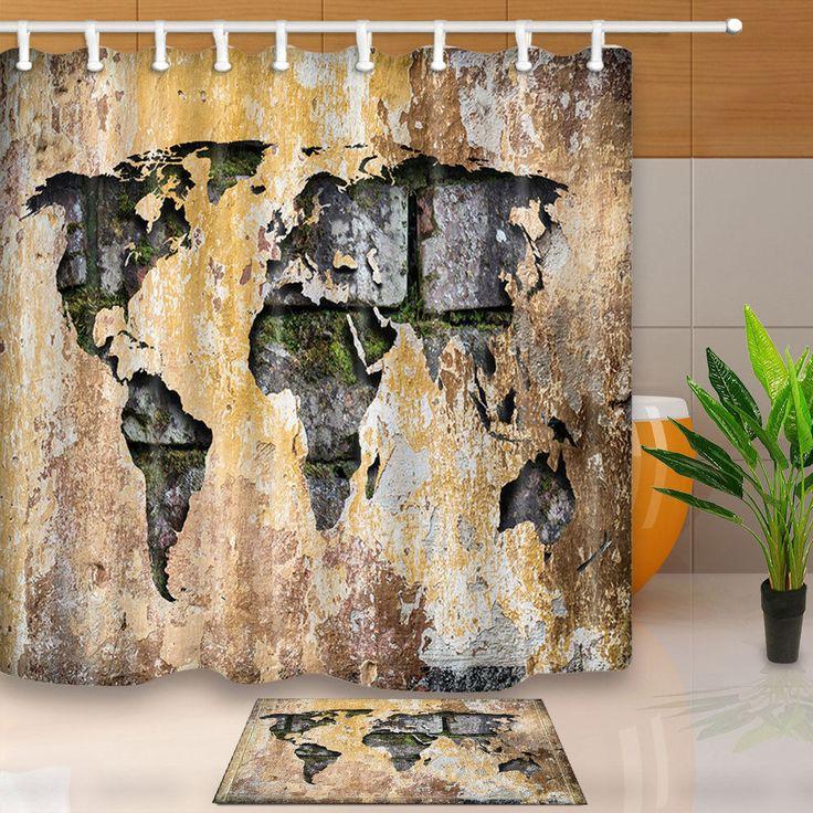 Creative World Map Waterproof Fabric Shower Curtain Hooks Bathroom Mat Decor  #Unbranded #ArtsCraftsMissionStyle