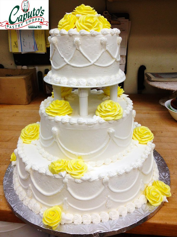wedding cakes northern new jersey%0A Beautiful Cake with yellow flowers Caputo u    s Italian Bakery in Long Branch   NJ Like us on