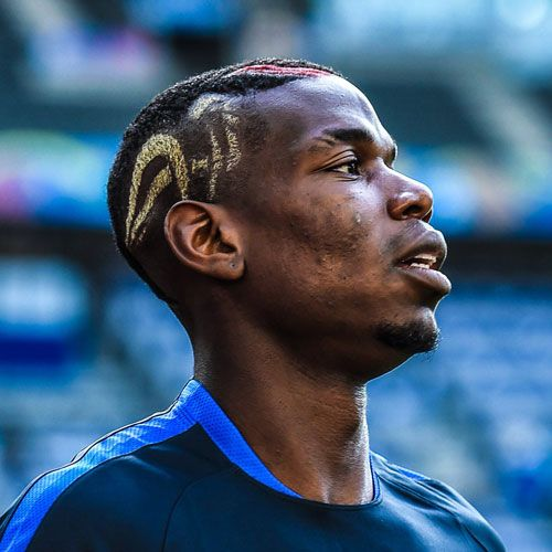 Paul Pogba Hair - Buzz Cut + Shaved Sides + Colored Design on Side