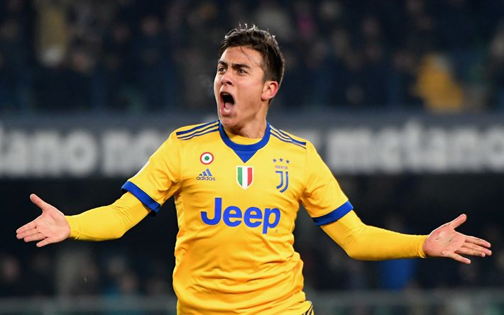 Download wallpapers Dybala, joy, footballers, goal, Juventus, football, Juve, Serie A, soccer, Paulo Dybala, Bianconeri