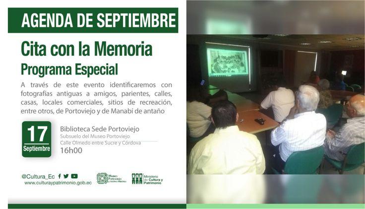 Evento: CITA CON LA MEMORIA  PROGRAMA ESPECIAL EN CONMEMORACION DE LAS FIESTAS PATRONALES DE LA VIRGEN DE LA MERCED Hora: 16H00 a 18H00 Fecha: Martes 19 de Septiembre del 2017 Lugar: Centro Documental del Museo Portoviejo y Archivo Histórico Organiza: Programa Cita con la Memoria en cooperación con el Museo Portoviejo y Archivo Histórico. Responsables:  Sinopsis: Ab. Ramiro Molina con el apoyo del personal del Museo Portoviejo y Archivo Histórico En conmemoración de las Fiestas Patronales de…