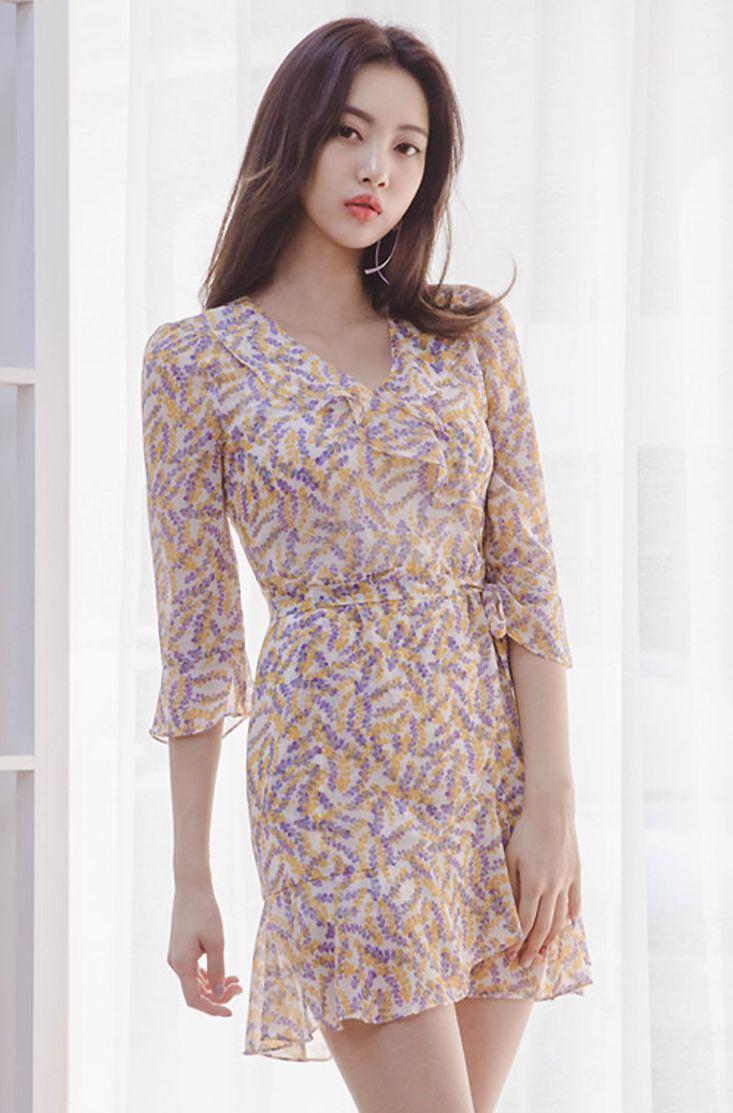 3/4 Sleeve Floral Print Dress CHLO.D.MANON   #floral #cute #dress #koreanfashion #kstyle #kfashion #datelook #springtrend