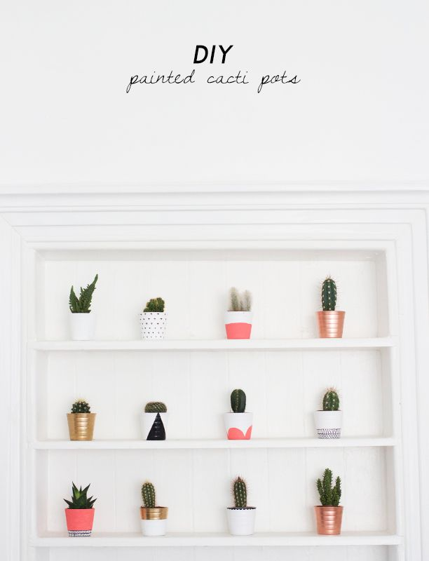 DIY Painted Cacti Pots Tutorial