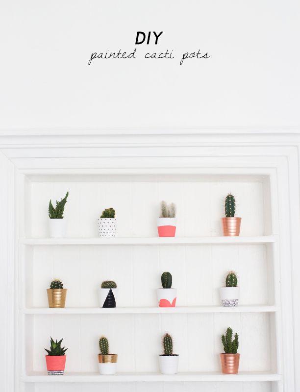 DIY Painted Cacti Pots.