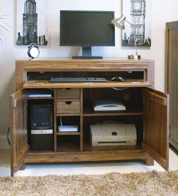 Superb Walnut Hidden Home Office Computer Desk Constructed Using Solid  Walnut Walnut Is A Very High Quality Timber With A Dense Grain, This Makes  It The ...