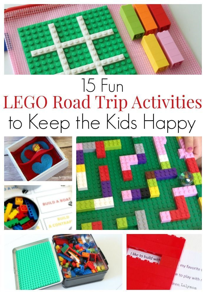 """Fun LEGO road trip (and airplane) activities to keep the kids happy and have the family vacation of your dreams. LEGO building challenges, educational LEGO games and activities, printables using LEGO bricks and DUPLO. LEGO fun for toddlers, kids, tweens and teens. You won't hear """"are we there yet"""" for hours!"""