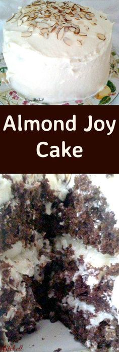 Almond Joy Cake. A delicious chocolate cake with almond and a coconut frosting…