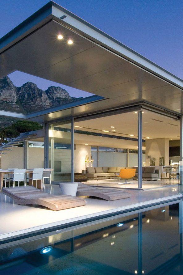 grote ramen, plat dak, geometrisch
