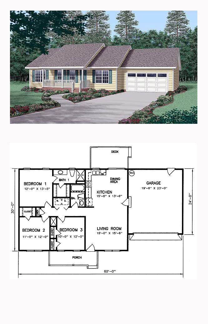 Ranch House Plan 45269 | Total Living Area: 1200 sq. ft., 3 bedrooms and 2 bathrooms. #ranchhome