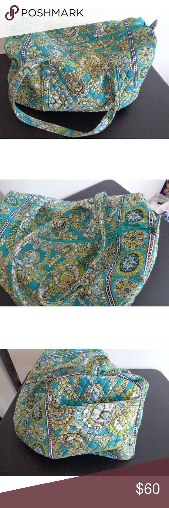 Vera Bradley Large Duffel Retired Peacock print, excellent condition. Very comfortable bag to carry. Vera Bradley Bags Travel Bags