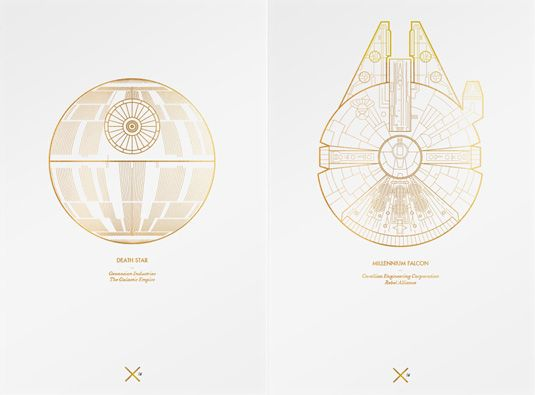death star and millenium falcon