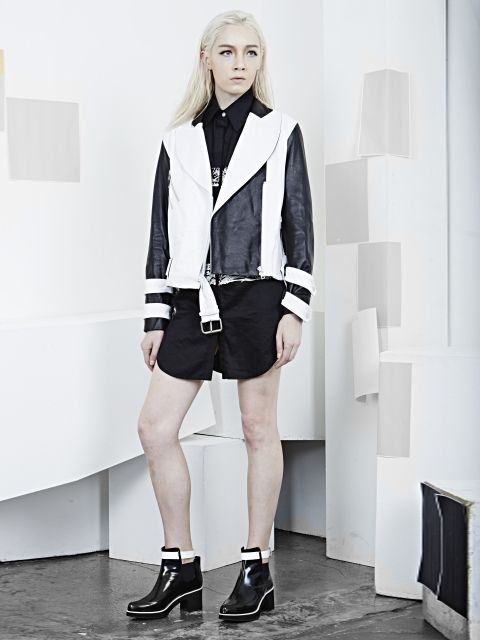 R.SHEMISTE - BLACKWHITE LEATHER JACKET