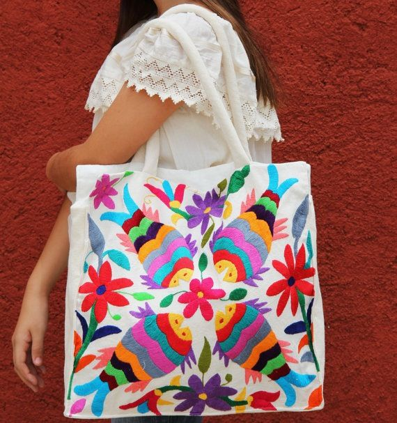 Fish Otomi Tote. Hand embroidered Mexican one of a kind piece.