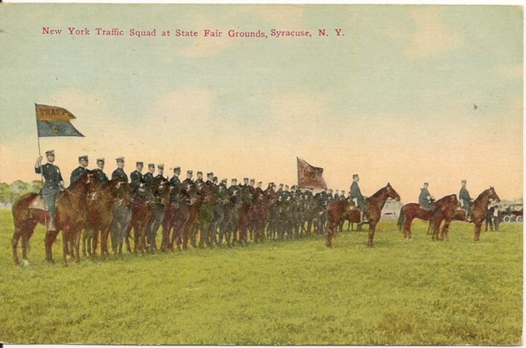 New York Traffic Squad at State Fair Grounds Syracuse NY Postcard 1912
