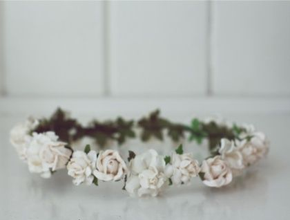 White Rose Flower Crown instead of a veil. I like to be different. :)