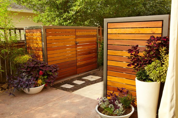 Equipment sheds. If you already have a screen or cover hiding your garbage cans, having another built to match can be a handy way to keep th...