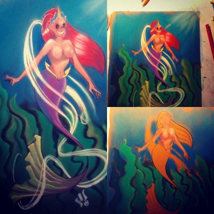 #mermay soft pastel chalks #mermaid #pinup #drawing #pinupart #art #instagood