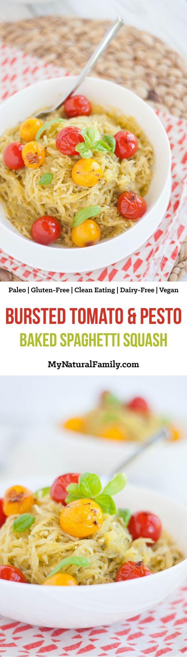 Bursted Tomato & Pesto Baked Spaghetti Squash Recipe {Paleo, Gluten-Free, Clean Eating, Dairy-Free, Vegan}