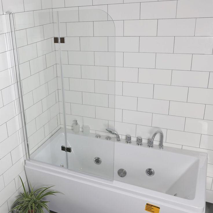 acrylic panels for bathroom walls%0A Costway Fold      u     u    x     u     u    Frameless Hinged Shower Bath Door Tempered Glass  Bathroom