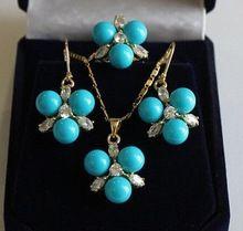 Свадьба в порядке природный 8 мм синий юг морские раковины жемчужные серьги / кольца / ожерелья серебряный кварцевый женщины бесплатная доставка