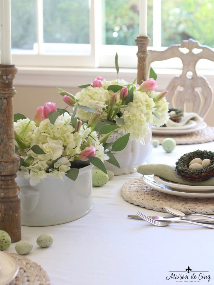 Garden Party Easter Tablescape with Pink Tulips