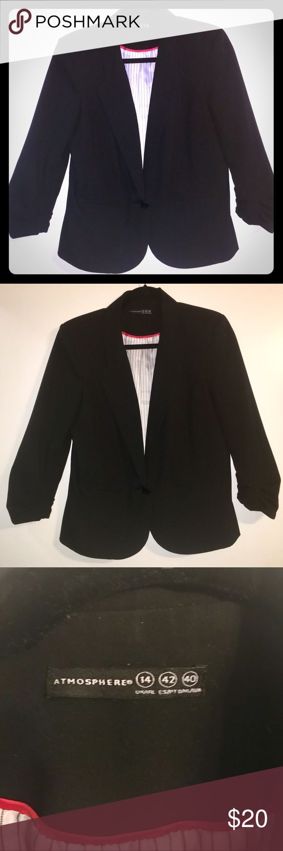 Atmosphere Black Blazer Black blazer from Atmosphere, purchased at Primark in the U.K. Has a nice casual, relaxed fit. Perfect for throwing over a t-shirt or dressing up a pair of jeans. Single button closure. Minimal signs of wear, in great condition! Machine washable. 3/4 length sleeves with elastic. Very comfortable! Is a U.K. size 14 which is a U.S. 10 Atmosphere Jackets & Coats Blazers