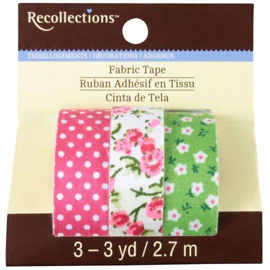 Ruban adhésif à tissu Recollections, motif floral rose et vert.