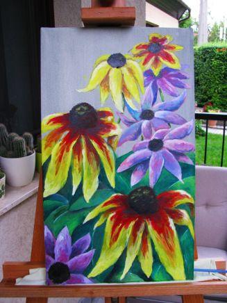 Acrylic painting of coneflowers.