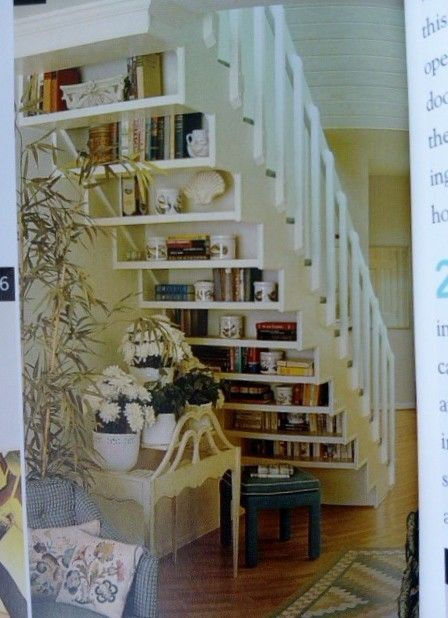 I love this! Bookshelf on the back of the stairs, brilliant.Bookshelves, Under Stairs Storage, Book Nooks, Book Storage, Basements Stairs, Bookcas, Reading Nooks, Cool Ideas, Storage Ideas