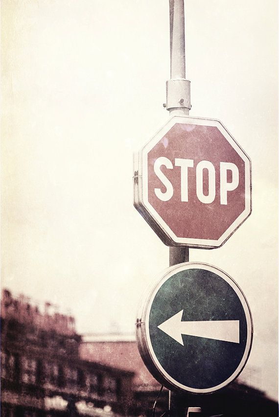 Industrial photography grunge photo STOP  road sign by MagicSky, Kč129.00