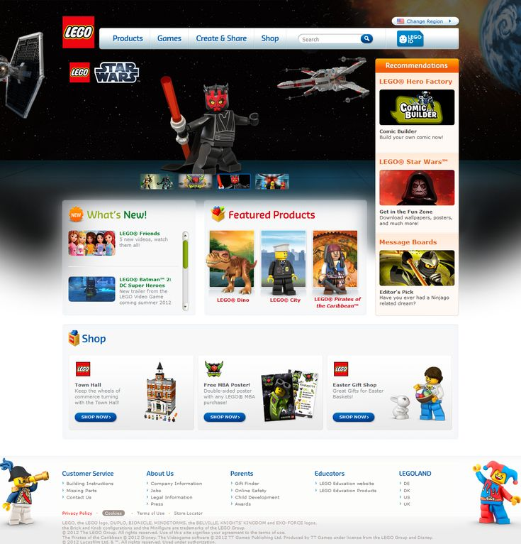 Lego website 2012