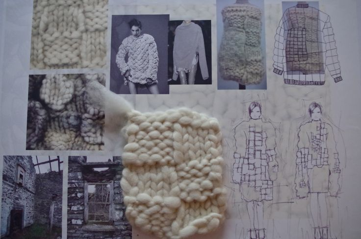 Fashion Sketchbook - fashion design development with observational research, chunky knit samples & fashion sketches; fashion portfolio // Miriam Briddon