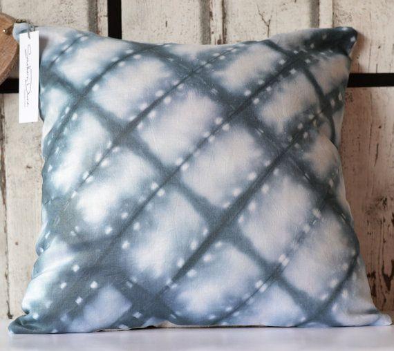 Unique handmade Shibori Dyed linen pillow. The fabric of this beautiful cushion was created using shibori dying technique. Each cushion has