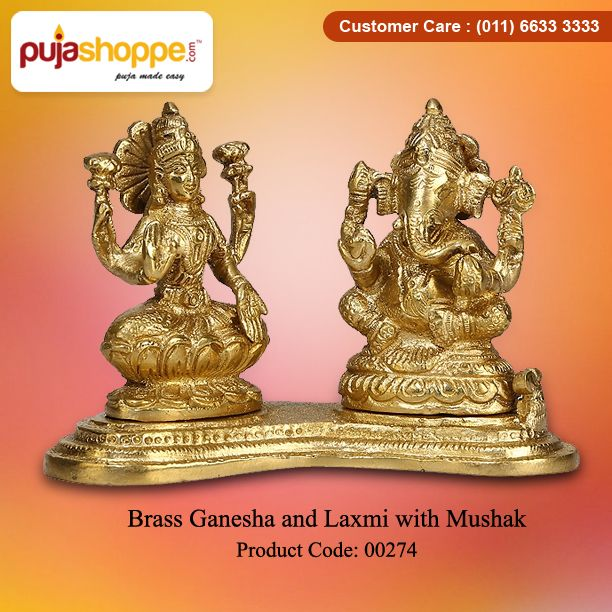 Get Online #BrassGaneshaandLaxmiwithMushak at Puja Shoppe. For more information please contact us: 011-6633-3333