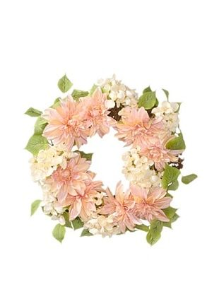 24% OFF Melrose International Dahlia and Hydrangea Silk Floral Wreath