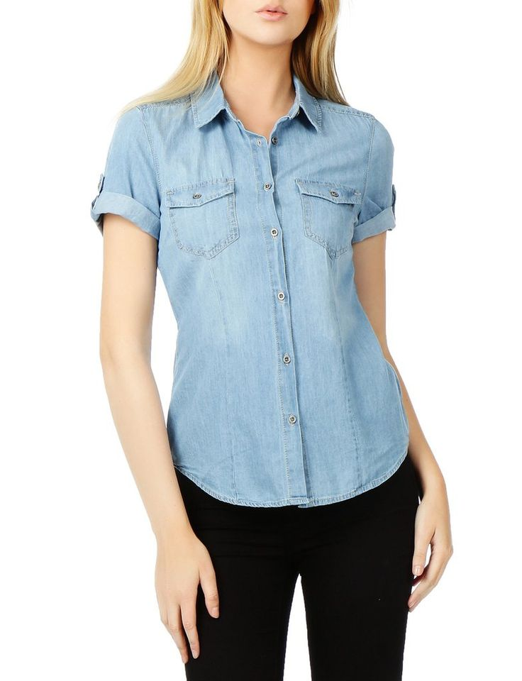 A classic look for the season, a lightweight, cotton denim shirt is detailed with traditional references such contrast topstitching, snap-flap chest pockets and back yoke. Dress this denim shirt up wi