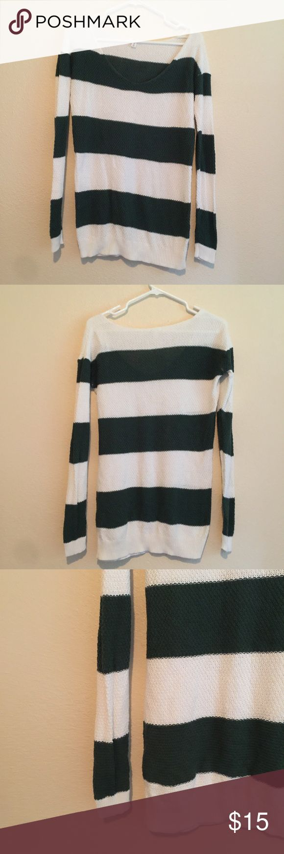 BP Nordstrom striped sweater green and white card Long sleeve striped sweater size XS perfect for St. Patrick's day! bp Sweaters Crew & Scoop Necks