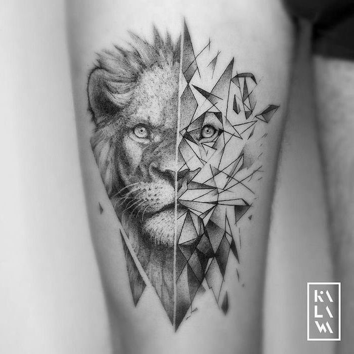 Half Geometrical Half Lion Head Lion Sleeve Tattoo Thigh Tattoo Black And White Photo In 2020 Lion Hand Tattoo Lion Head Tattoos Geometric Lion Tattoo