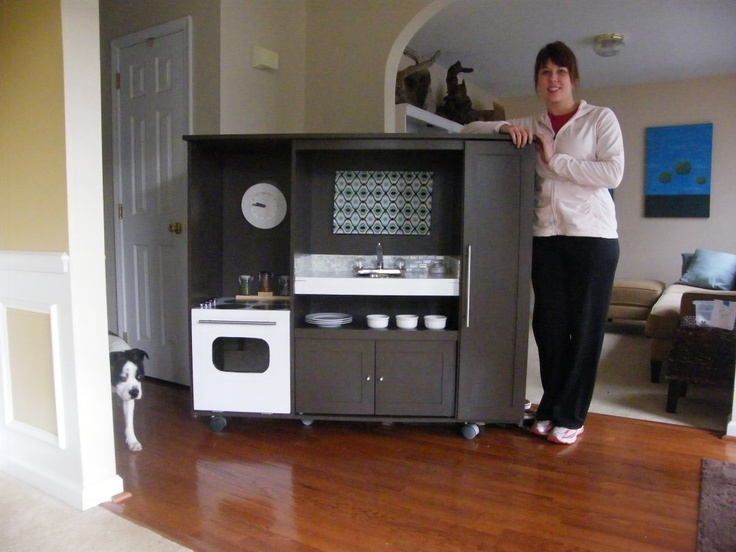 Kids' kitchen from old entertainment center