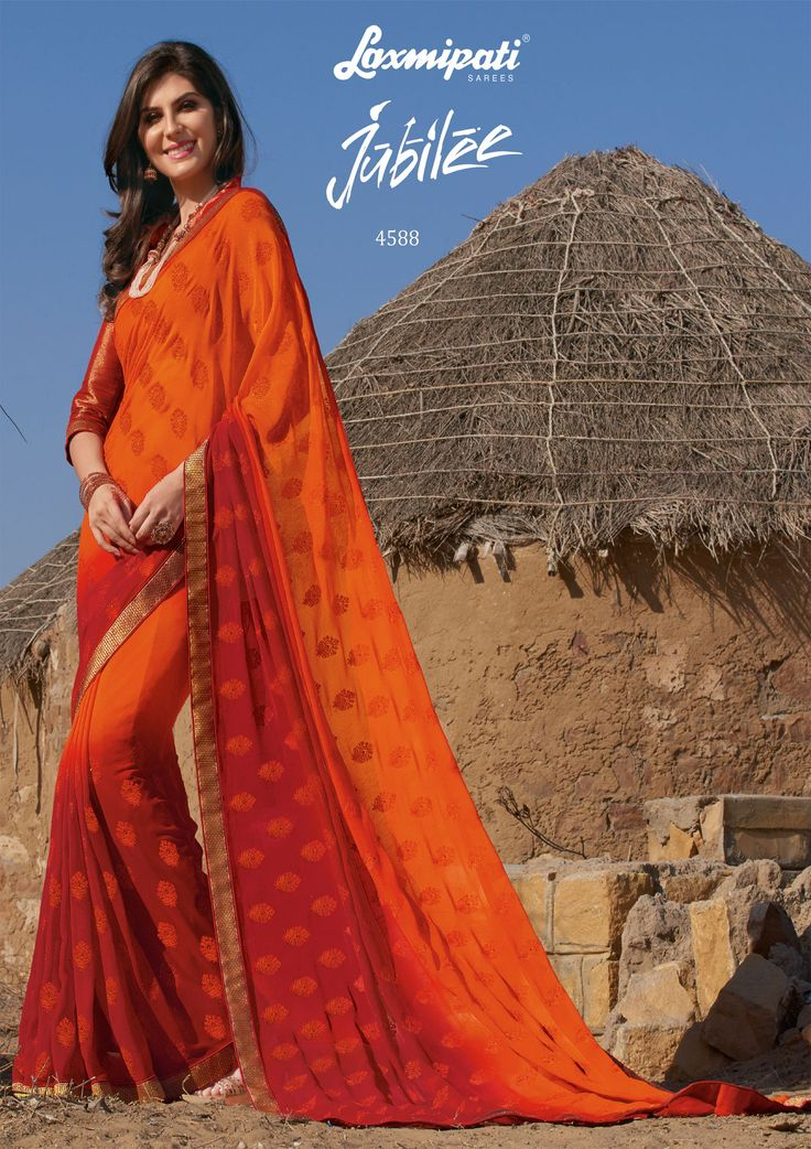 🛒 Buy this trendy orange & red colored georgette embroidery stone work saree with golden zari lace border along with golden & red shimmer blouse from #Laxmipatisarees. Catalogue- Jubilee, Design Number: 4588, Price: ₹ 2875.00 #Jubilee0417 #Cashondelivery #Orderonline #Freeshipping #Nayazamana