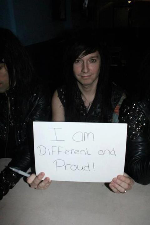 "Jake Pitts of Black Veil Brides. Same here! I am different and proud, who wants to be ""normal"", a setting on a washing machine? that's what I thought"
