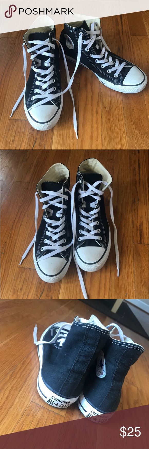 Black High Top Chuck Taylor Converse Only flaw is one of the metal covers on the shoe lace holes is a little loose! Retail $55 Converse Shoes Sneakers