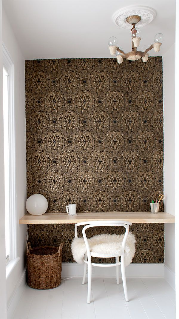Closet office space with Art Deco wall paper
