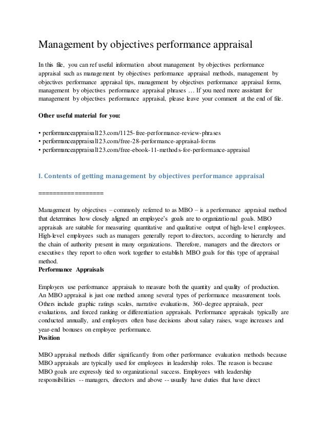 Management by objectives performance appraisal In this file, you can ref useful information about management by objectives...