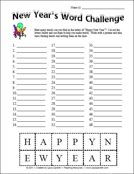 Free New Year's Word Challenge Spelling Activity from Laura Candler